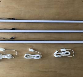 (3) 4' Quasar Tubes(3000K) with dimmers and extention cables