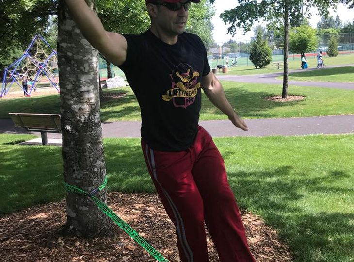 50ft slackline kit with tree protectors and safety line