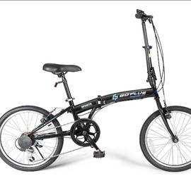 Goplus 20'' Folding Bike, 7 Speed Shimano Gears, Lightweight Iron Frame, Foldable Compact Bicycle with Anti-Skid