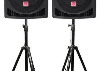 Rockville RPG 12 Self Powered PA Speakers with stands and XLR cords
